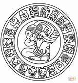 Mayan Calendar Coloring Aztec Pages Maya Printable Mask Sketch Symbols Rodriguez Leo Mexican Face Supercoloring Culture Colouring Tattoos Crafts Calendario sketch template