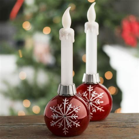 led battery operated snowflake ball ornament taper candles