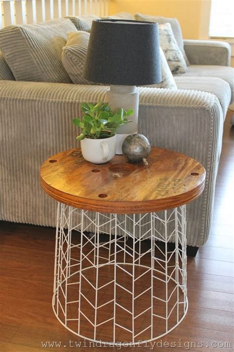 hometalk diy accent table   wire basket  cable