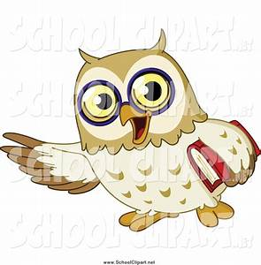 Clip Art of a School Owl Presenting with One Wing and ...