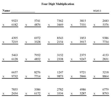 4 digit by 3 digit multiplication worksheets worksheets