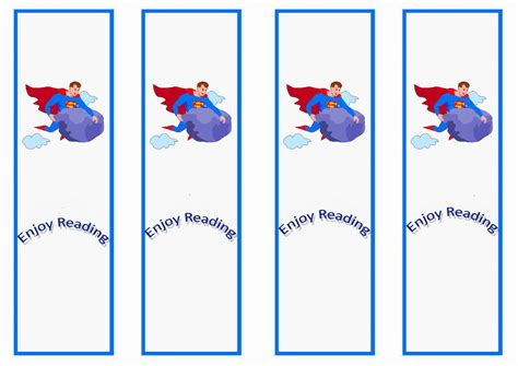 superman bookmarks birthday printable