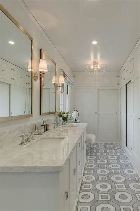 long master bathroom white gray carrera hexagon