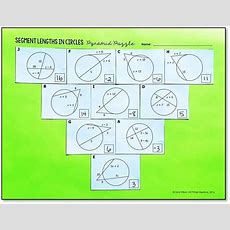 Segment Lengths In Circles Pyramid Puzzle  All Things Secondary Math  Pinterest  Circles And