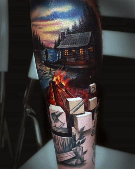 campfire tattoo designs  men great outdoors ink ideas