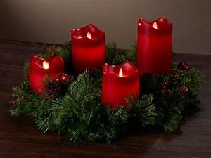 Künstlicher Adventskranz Dekoriert : britesta adventskranz rot 4 rote led kerzen mit bewegter ~ Michelbontemps.com Haus und Dekorationen