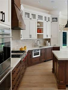 dark lower cabinets cream upper houzz With kitchen cabinet trends 2018 combined with wine glass stickers