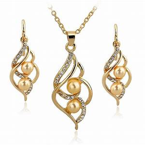 Fashion Double Simulated Pearl Jewelry Set Gold Silver ...