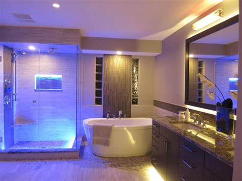 Amazing Bathroom Blue Led Lights Decors Ideas In Ceiling