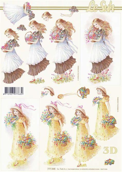 girls  flowers  decoupage sheet