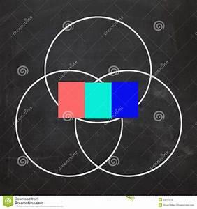 Three Letter Word Venn Diagram Shows Intersect Stock Illustration