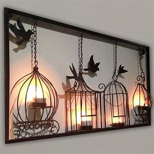 birdcage tea light wall art metal wall hanging candle With metal wall decorations