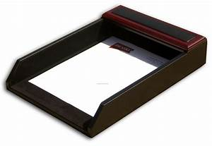 rosewood wood leather front load letter tray legal size With legal size letter tray