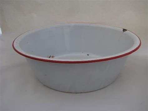 vintage banded enamelware laundry / kitchen dish pan lot