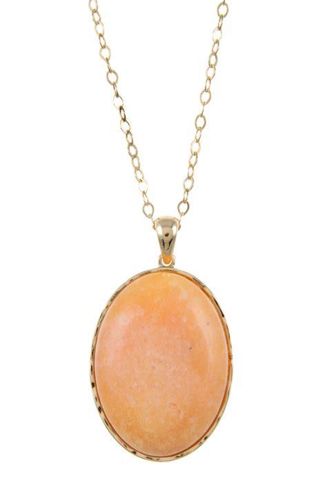 Peach oblong faux stone pendant necklace