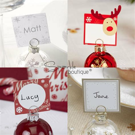christmas baubles name holders snowflake place name cards wedding use with bauble holders ebay