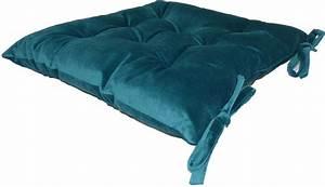 Coussin Velours Bleu Canard : galette de chaise en velours 8 points 40 cm bleu canard ~ Teatrodelosmanantiales.com Idées de Décoration