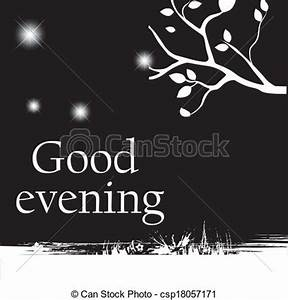 "Vectors Illustration of message - a ""good evening"" message ..."