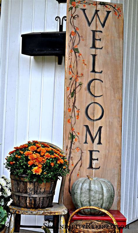 serendipity refined fall harvest porch decor with reclaimed wood sign