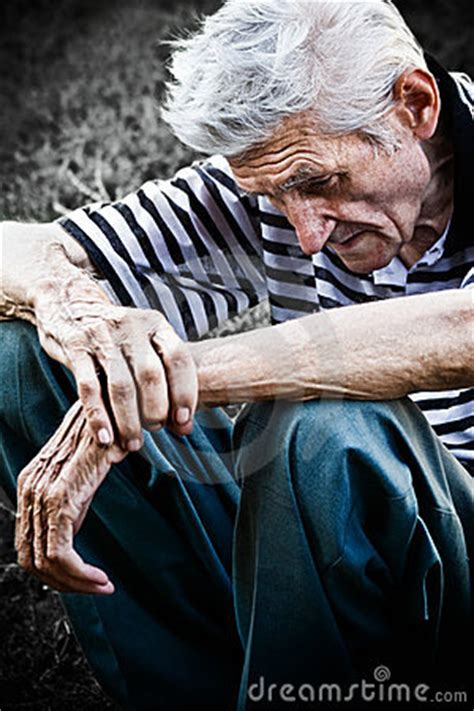 age  depression concept sad senior  man stock