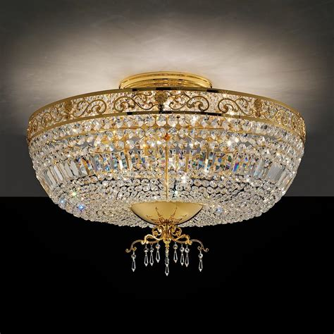 Italian Ceiling by Classic Italian Designer Gold Plated Ceiling Light