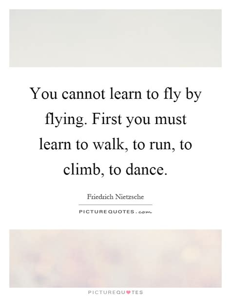 You Cannot Learn To Fly By Flying First You Must Learn To