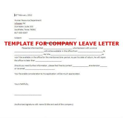 template  company leave letter stepbystep books