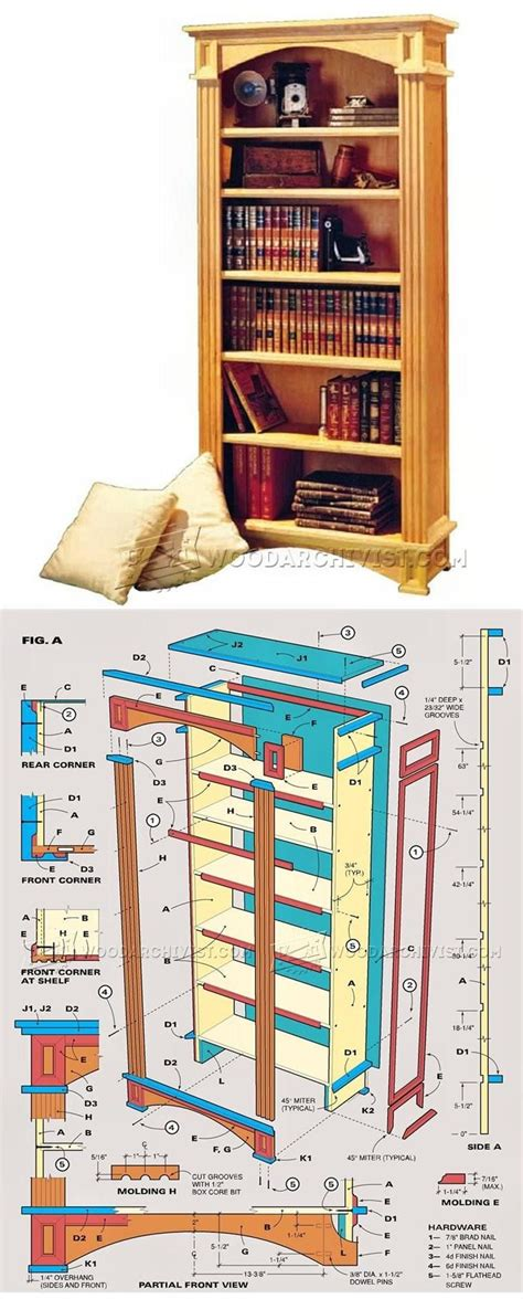 traditional bookcase plans furniture plans  projects
