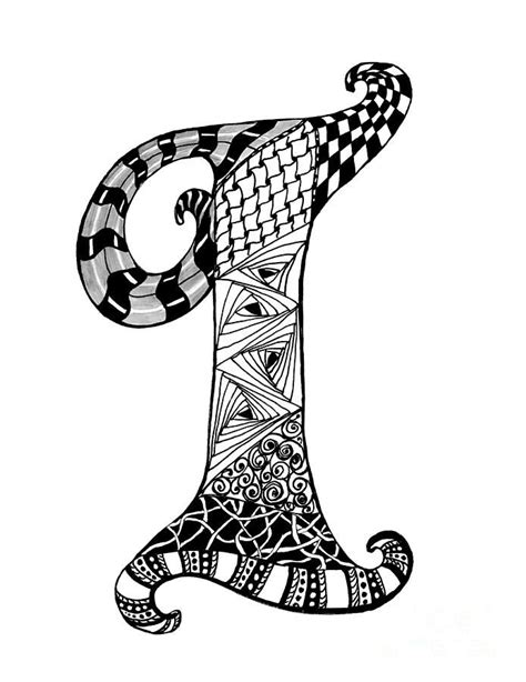 zentangle letter  monogram  black  white drawing zentangle art coloring letters art
