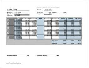 Pay Sheet Template Semi Monthly Timesheet Horizontal Orientation With Overtime Calculation Breaktime Column