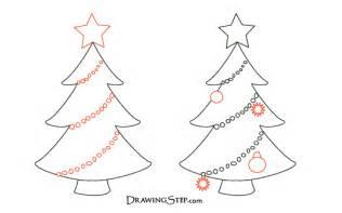 cartoon christmas tree drawings