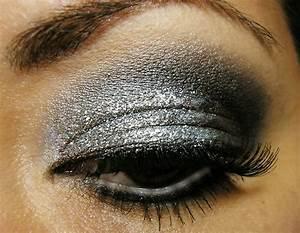 eye, eyeshadow, glitter, makeup, silver, smokey - image ...