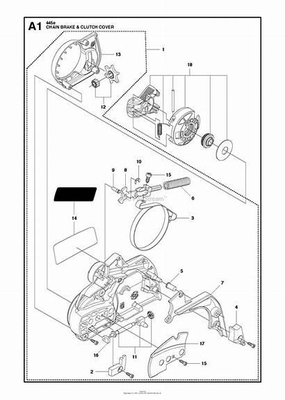 Diagram Parts Brake Husqvarna Clutch 445 Chainsaw
