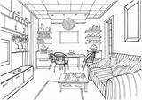 Coloring Pages Living Drawing Kitchen Interior Printable Ball Zeichnen Luminous Perspective Zimmer Modern Sketches Supercoloring Adult Drawings Ausmalen Books Perspektive sketch template