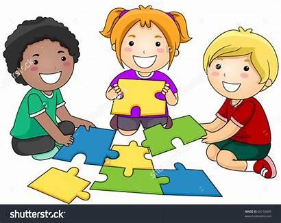 Puzzle Clipart Games Centers Children Clip Jigsaw