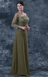 Light Brown Long Chiffon Lace Square Neckline Dark Lime Green Mother