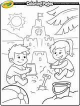 Coloring Beach Crayola Fun Pages Sand Castle Colouring Summer Building sketch template