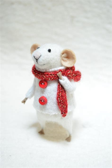 christmas mouse unique needle felted ornament animal
