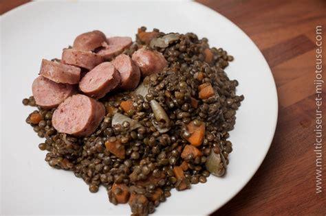 cuisine lentilles vertes recette de saucisses lentilles au multicuiseur recettes