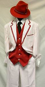 Milano Moda White With Red Stripe Vested Zoot Suit Costume