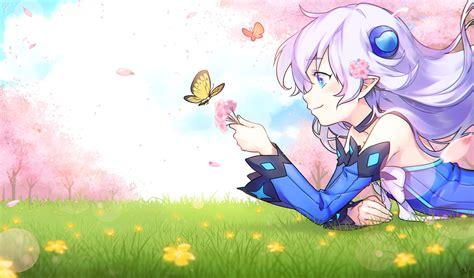 Anime Girls Lu Elsword Elsword Aqua Eyes Butterfly