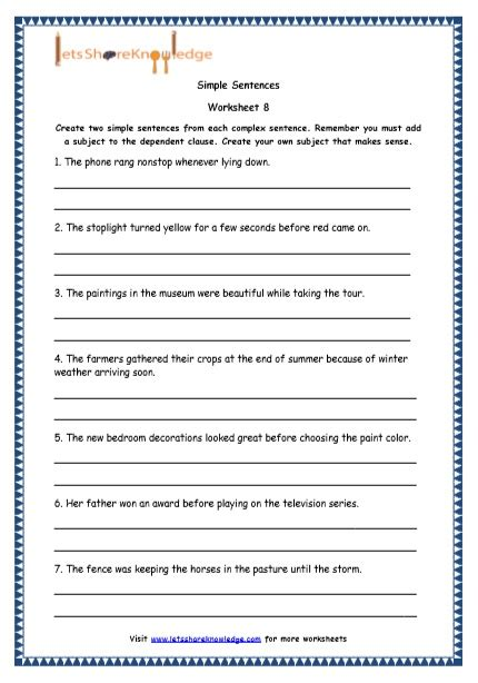 Grade 4 English Resources Printable Worksheets Topic Simple, Compound And Complex Sentences