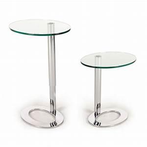 Table D Appoint Miroir : table d 39 appoint r glable en hauteur wanda verre inox ~ Teatrodelosmanantiales.com Idées de Décoration