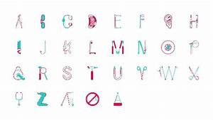 typography shaped like stethoscopes scalpels and other With pictures shaped like letters