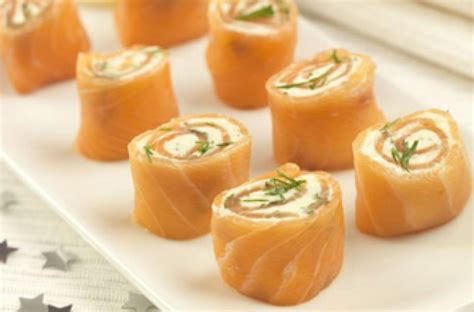 cheap easy canapes smoked salmon cheese wheels recipe goodtoknow