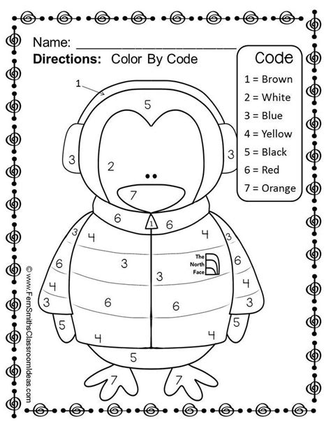 color by numbers winter know your numbers worksheet freebie winter ideas crafts activities
