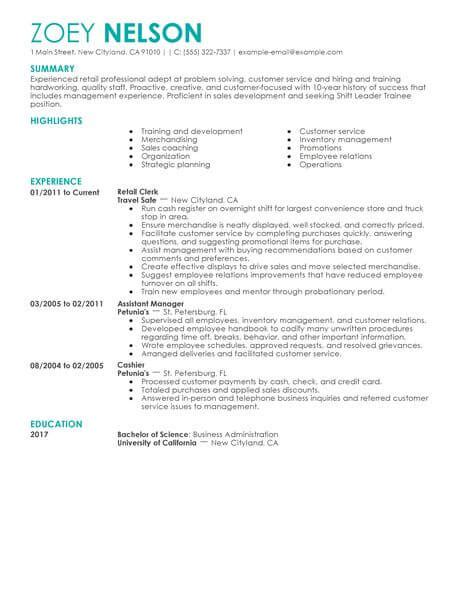 shift leader trainee resume  livecareer