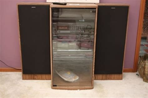 sony cabinet radio lot 54 sony multi component stereo in cabinet w