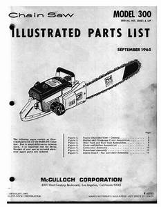 Mcculloch Model 300 Chain Saw Service Parts Manual
