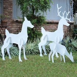 christmas yard art christmas outdoor 3 piece large reindeer family set by teak isle american